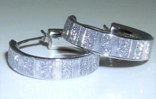 MOON DUST CREOLE  HOOP 18mm EARRINGS STERLING SILVER 925  DIAMOND CUT