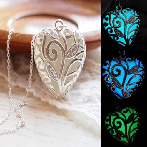 Steampunk Glowing Aqua Heart Locket Glow In The Dark Pendant Woman/'s Necklace