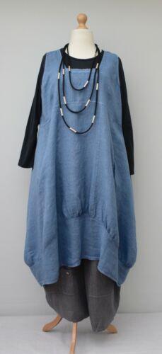 DUSTY BLEU xl-xxl Buste 52-54 Grande Taille Lin Oversize uni 2 poches robe longue