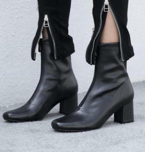 Femme Rétro bout carré Zip Front Med Block Talons Hauts Cheville Équitation Bottes Chaussures A727