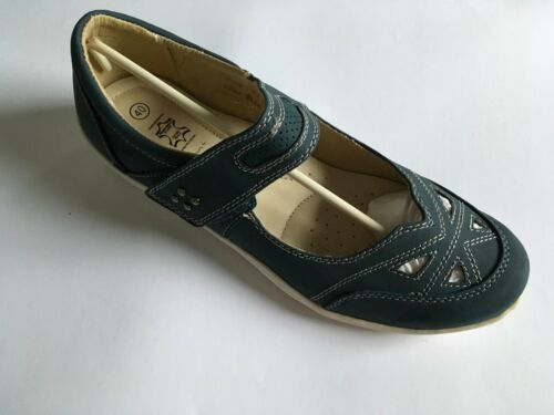 Chaussures femme Étape Facile En Cuir Bleu Chaussure Joint Plat Ballet Pompe Mary Jane 38 Entièrement neuf dans sa boîte