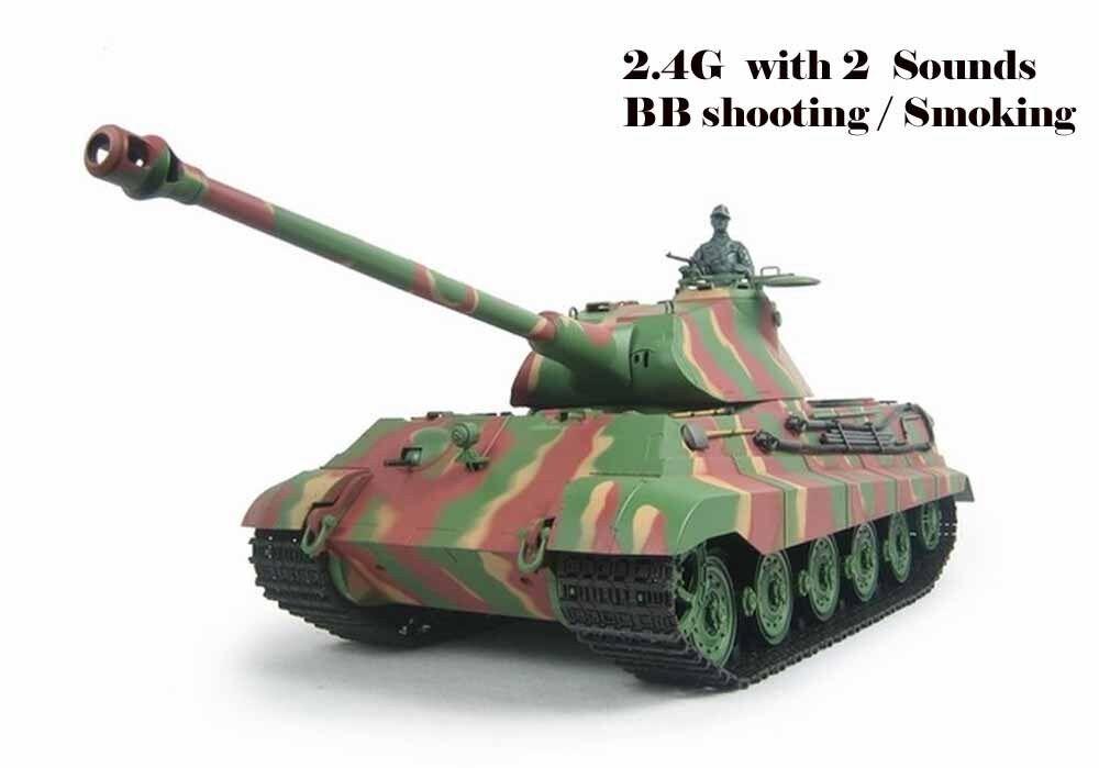 Heng Long Radio Control Tank King Tiger Military tank 1 16 BB shooting 2.4G UK