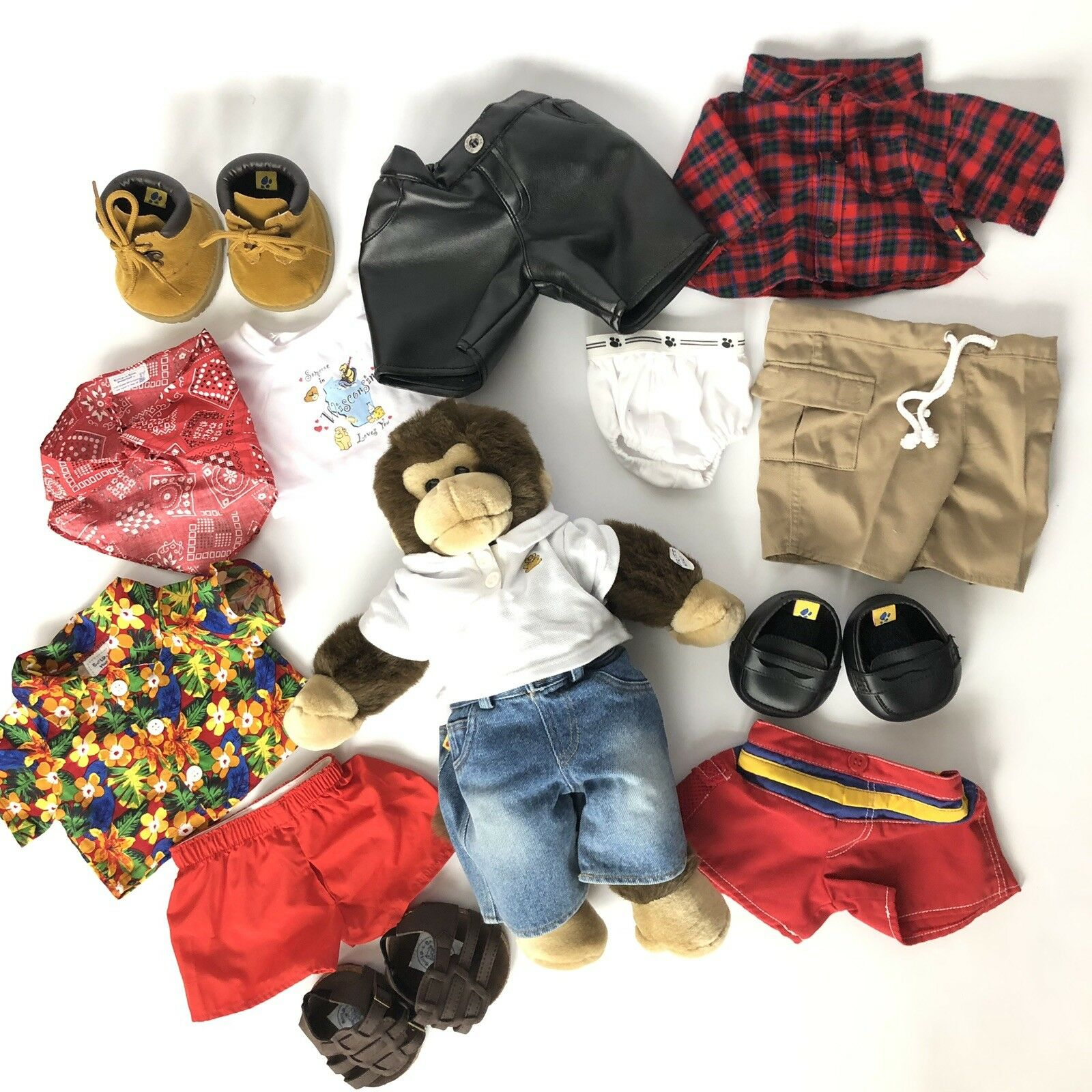 Build A Bear Monkey And Clothes Lot Set Outfits scarpe Sounds Works Gift Idea