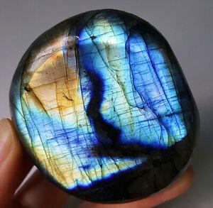 Top-104G-Natural-Blue-Rainbow-Labradorite-Crystal-Healing-Madagascar-YT106