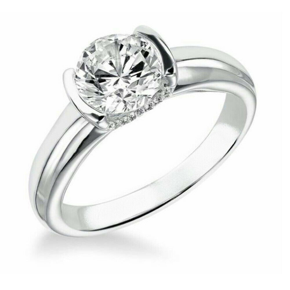 Diamond Wedding Solitaire Engagement Ring 14K White gold 1.14 Ct Size 7 Round