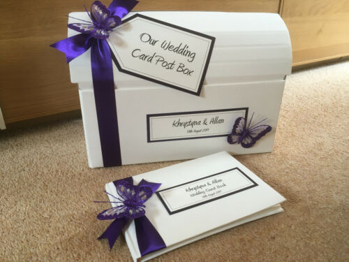 Post Box /& Guest Book Guest Book Cadburys Purple Butterfly Wedding Post Box