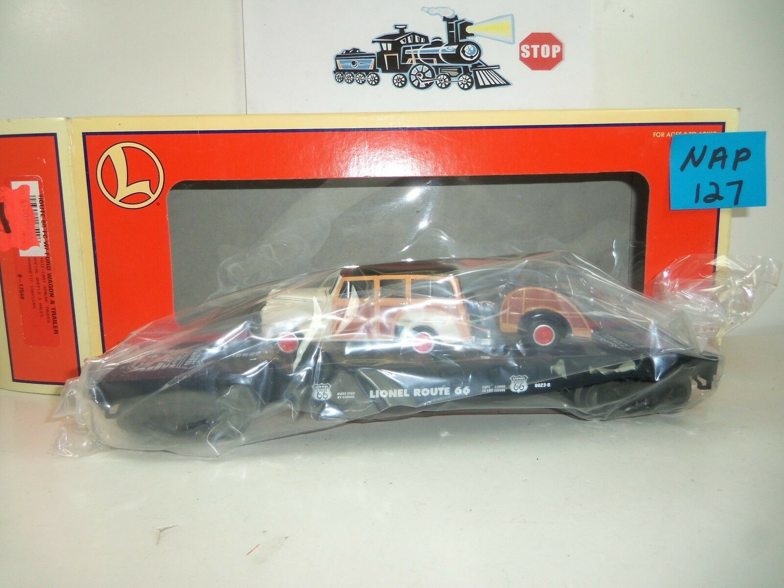 Lionel Route 66 FC Ford Wagon & Trailer NOS NAP-127