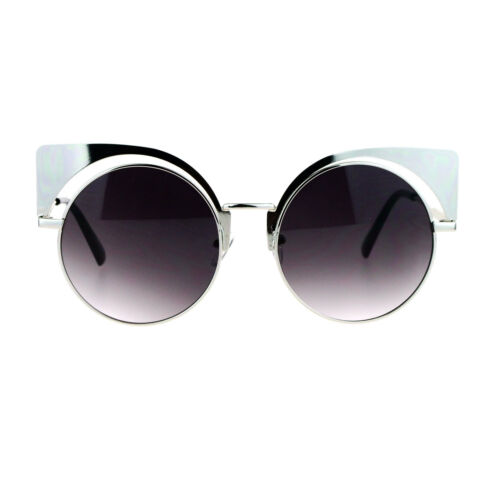 Womens Round Cateye Sunglasses Oversized Metal Wing Top Frame
