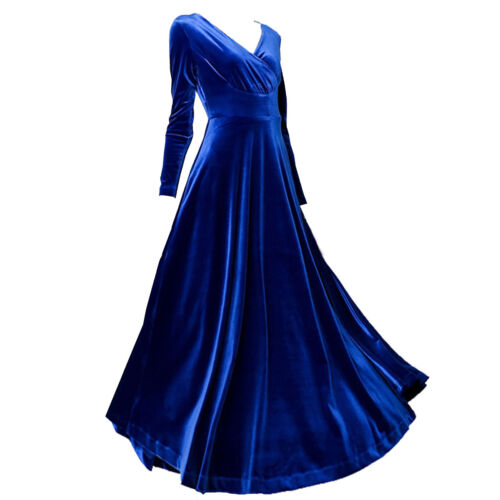 Womens Velour Formal Cocktail Party Evening Long Maxi Tea Dress Velvet Prom Gown