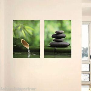 Stimmungsbild-Bambus-Stein-Kunst-Set-selbstklebendes-Wandbild-Wandtattoo-XL-Neu
