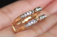 Zales 14k Double Row Diamond Solitaire Enhancer Ring Guard Wrap Yellow