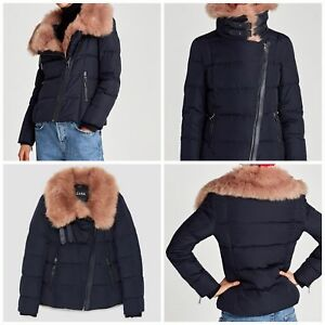 Puffer Fur Jacket Jacke Steppjacke Daunen Fellkragen Quilted Collar Zara Padded xY6SwqCP