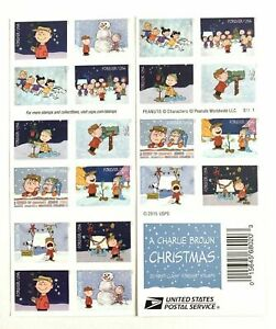 Charlie Brown Christmas 20 Forever Stamps Mint 2015 #5021-5030