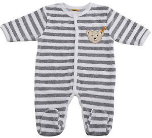 8ef001197de19 Das Bild wird geladen STEIFF-Baby-Nicky-Strampler-Schlafanzug -Grau-Ringel-Baer-