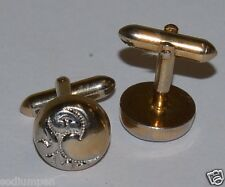 WOW Vintage Circular Yin Yang Design SWANK Golden Men's Cuff Links Set Rare