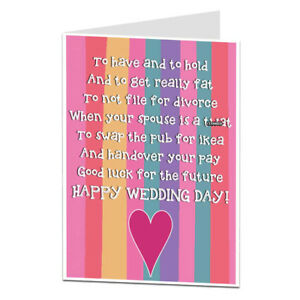Funny Wedding Cards.Details About Funny Wedding Card Congratulations Mr Mrs Bride Groom Humour Poem