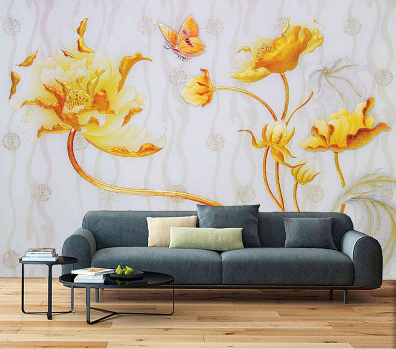 Yellow Showy Lily 3D Full Wall Mural Photo Wallpaper Printing Home Kids Decor