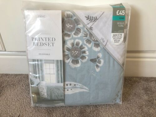 BNIP NEXT Sky Blue Floral Duvet Bed Cover Set in Various Sizes