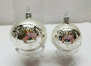 Vintage-Glass-Christmas-Tree-Ornaments-Bauble-Ball-Polka-Dot-Silver-Snow-Spotted