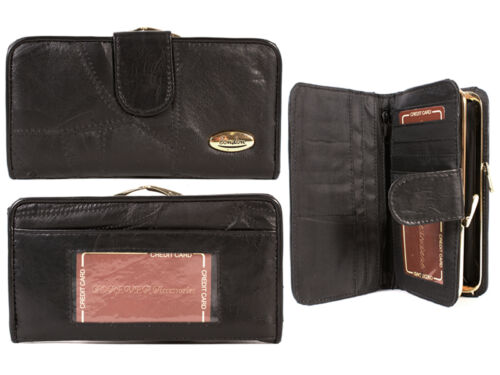 WOMEN/'S NEW LEATHER PURSE//WALLET ORGANISER TAN//BLACK LARGE EXTRA COMPARTMENTS