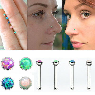 Nose stud Ring Opal Straight Surgical Steel 20g Lot Of 4pc