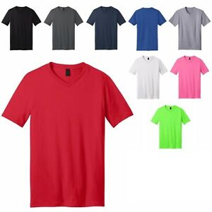MEN'S LIGHTWEIGHT, V-NECK, SHORT SLEEVE T-SHIRT, SOFT COTTON or BLEND, XS-4XL