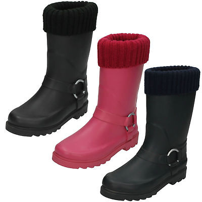 Childrens Pink Rubber Wellington Boot Knitted Cuff X1038 Great Price!