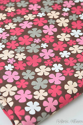 Cotton Duck Canvas Fabric Pretty Pink Red Daisy Flowers