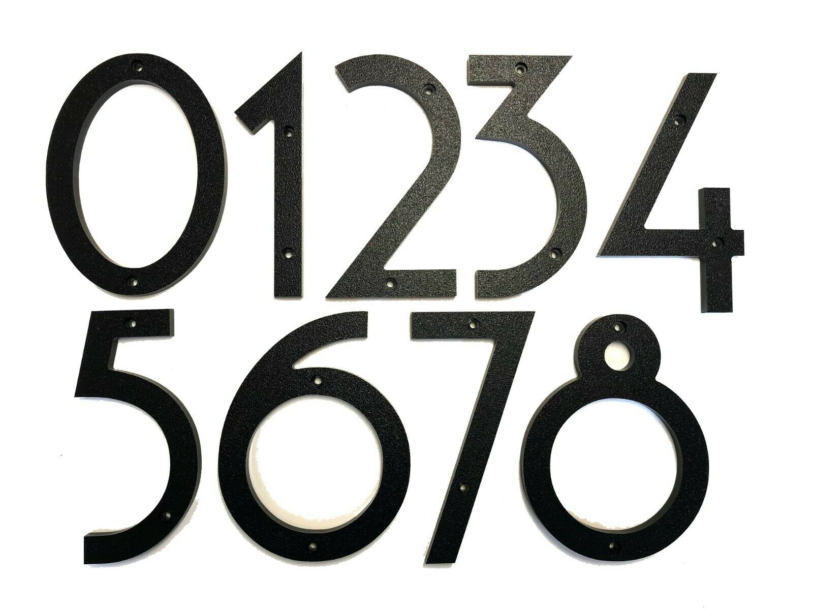 5 inch Art Deco House Numbers, Black Plastic with Hardware Included