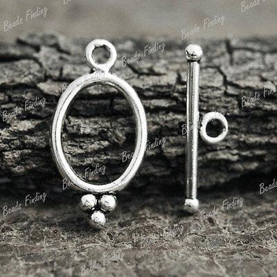 50pcs Tibetan Antique Silver Oval Fashion Bar Ring Toggle TS0814