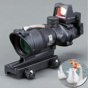 Acog 4x32 Optic Scope Riflescope Cahevron Reticle Fiber Green Red Illuminated
