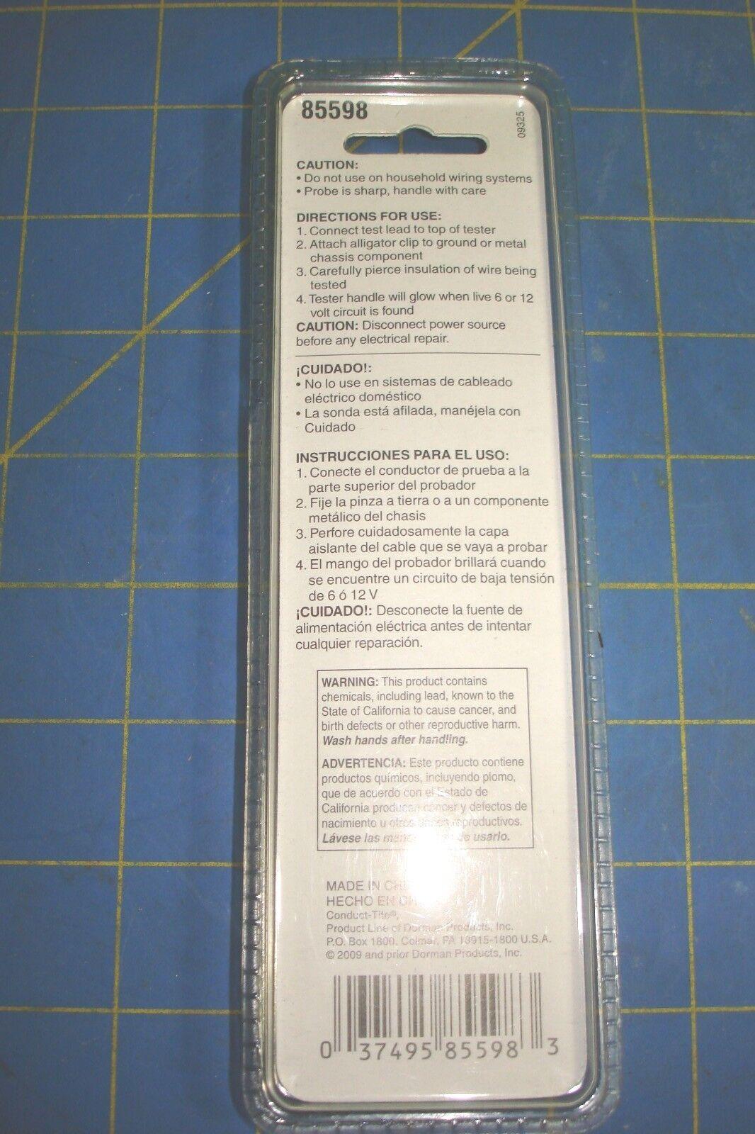 Circuit Tester 6 or 12 Volt Dorman 85598 | eBay