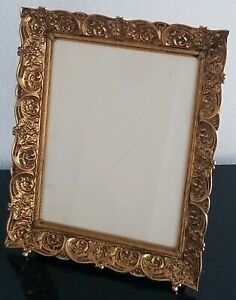 Fabulous Large Vintage Brass Bronze Ornate Feeted Picture Frame 12 10 Ebay