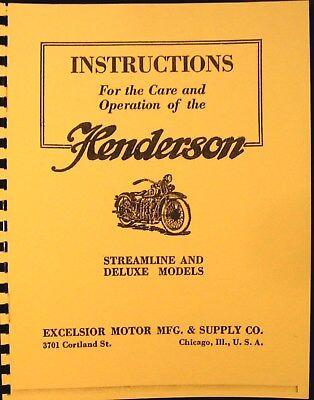 1929 Henderson Moto Istruzioni Per Cura & Operatoion Streamline Deluxe Guidare Un Commercio Ruggente