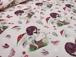 Stoff-Baumwolle-Jersey-Maedchenstoff-Pilze-Maedchen-zart-rosa-bunt-Kinderstoff