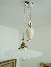 SUPER SHABBY FRENCH CHIC RISE AND FALL CHANDELIER LIGHT LAMP OPALINE SHADE