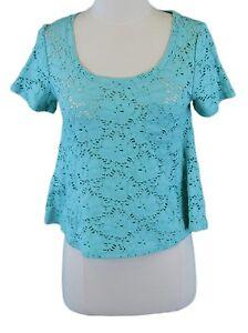 771acfeafb7 FREE PEOPLE Women's Seafoam Crochet Crop Top w/ Front Pocket Sz ...