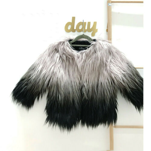 Toddler Baby Girls Faux Fur Gradient Winter Warm Coat Jacket Cute Thick Clothes