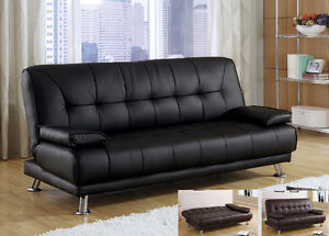 Delightful ... Modern Cozy Black Bycast Leather Removable Armrests Futon
