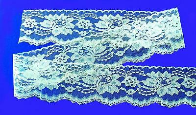 LIGHT BLUE~3 Inch Wide Floral Flat Lace Trim~By 5 Yards