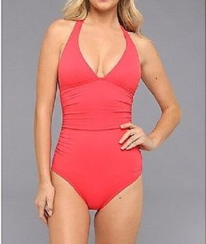 DKNY One Piece Sz 10 Swimsuit Coral Pink Solid Halter Maillot Swimwear D62381