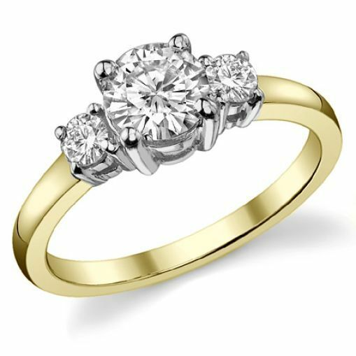 1.05CT Forever One Moissanite 4 Prong 3-Stone Ring Two Tone 18K gold