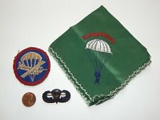 Orig US WWII Army AIRBORNE Paratrooper Lot JUMP WING cap PATCH Sweetheart Hankie