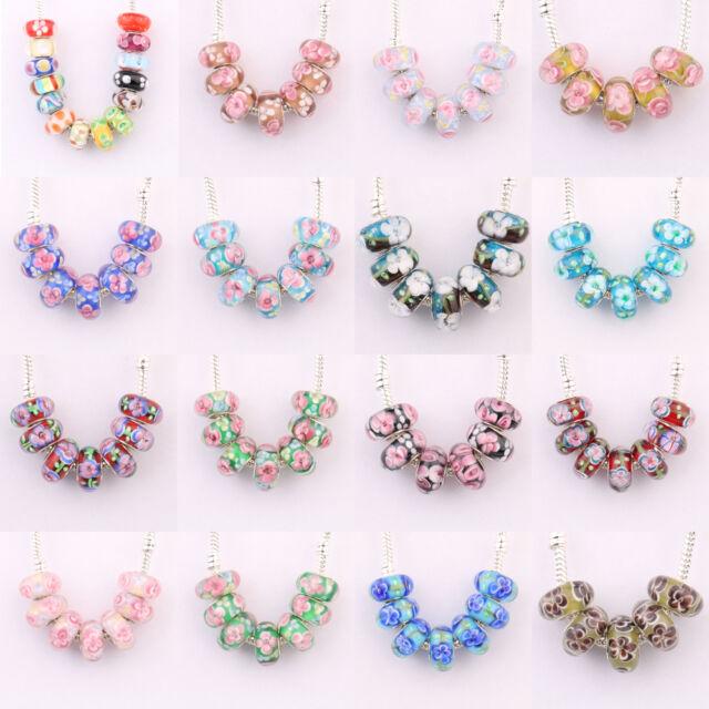 Lampwork Focal Bead Flower Beads Pink Flower Flat Round  20mm 5 pcs US seller