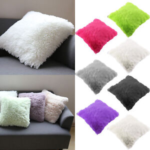 Image Is Loading Throw Home Decor Fur Fluffy Sofa Pillow Cases