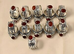 5 Pcs Carnelian Stone 925 Sterling Silver Meditation Band Spinner Rings SS-1