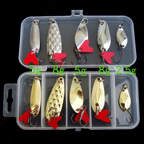 10pcs Metal Fishing Lures Bass Spoon Crank Bait Saltwater Tackle Hooks Kit