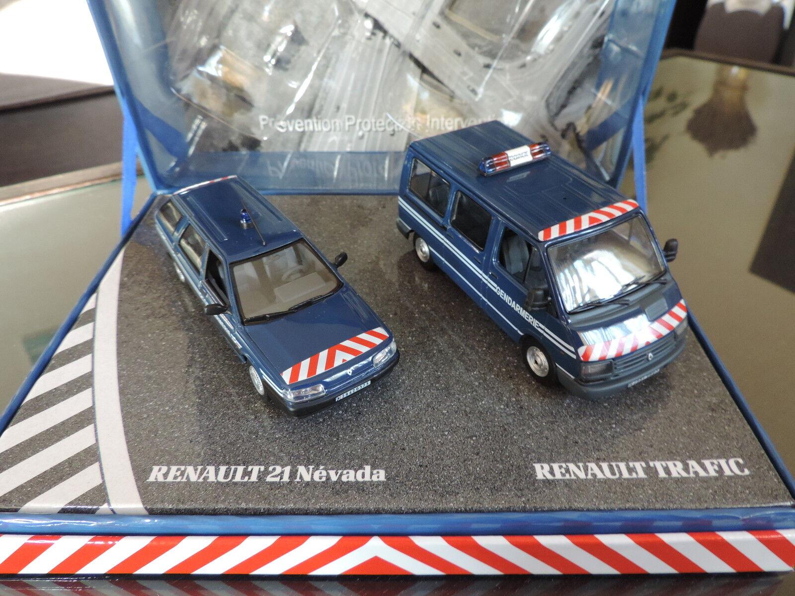 Coffret Gendarmerie Renault Trafic + Renault 21 Nevada 1 43 Norev Traffic R21
