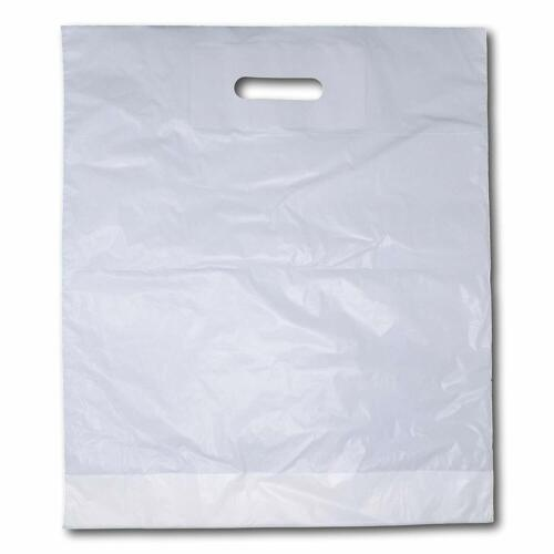 """300 Extra Large 22/"""" x 18/"""" x 3/"""" Strong White Patch Handle Plastic Carrier Bags"""