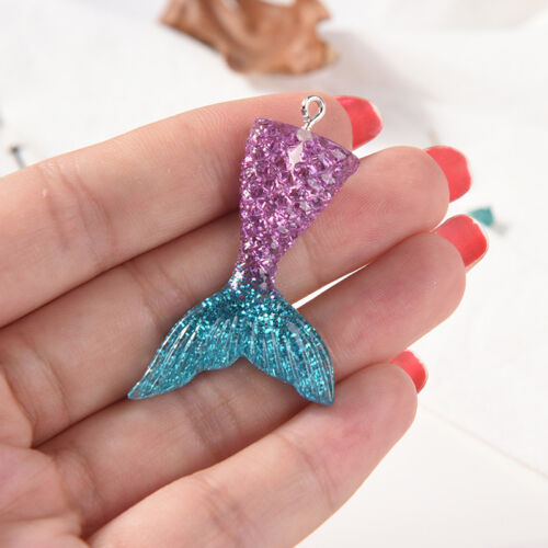 10X Mixed Glitter Mermaid Fish Tail Charm Resin Pendant Fit Bracelet//Necklace S/&